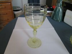 Yellow Block Optic 7 1/4 Thin Water Goblet - Hocking Glass Co.- 1929 - 1933