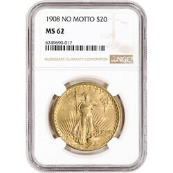 Us Gold 20 Saint-gaudens Double Eagle - Ngc Ms62 - 1908 No Motto