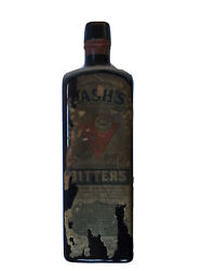 Lashs Bitters Amber Bottle Natural Tonic Laxative Embossed W/ Partial Label 1913
