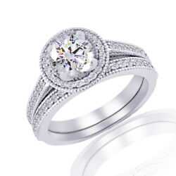 1.19 Ct Simulated Round Cut 18k White Gold Solitaire Engagement Rings