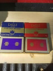 Eagle Five Suit Bridge Deck Playing Cards Vintage Rare Two Decks One With Tax St
