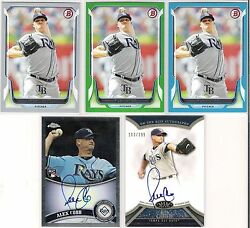 Alex Cobb Rays 5 - Count Lot W/ 4 Serial Ed Cards, 2 Auto Cards, And 1 Rookie