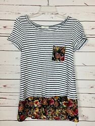 Le Lis Stitch Fix Women's S Small Striped Floral Short Sleeve Cute Tunic Top Tee $22.00