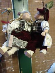 Vintage Cathy Collection Porcelain Kissing Dolls In A Swing. Robert And Judy