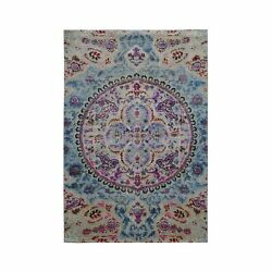 4and039x6and039 Sari Silk And Textured Wool Colorful Maharaja Hand Knotted Rug R49422