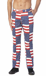 Concitor Collection Men's Dress Pants American Flag Design Red White Blue Colors
