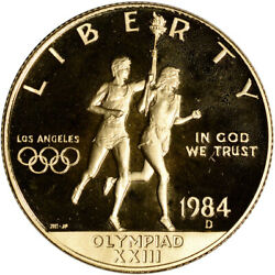 1984-d Us Gold 10 Olympic Commemorative Proof - Coin In Capsule