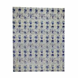 8'x10' Sari Silk With Textured Wool Hand-knotted Ikat Design Oriental Rug R46017
