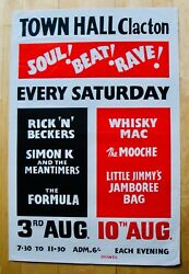 Town Hall Clacton-rare 1960and039s Soul Beat Rave Very Rare 60and039s Concert Poster