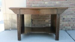 Antq Arts And Crafts Mission C.1910 Quarter Sawn Solid Oak Library Table Desk