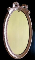 Antique French Louis Xvi Styled Painted Gesso Framed Vintage Mirror
