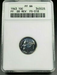 1963 P Roosevelt Proof Silver Dime Variety Anacs Pf66 Fs-803 Ddr Pq Blue Toning