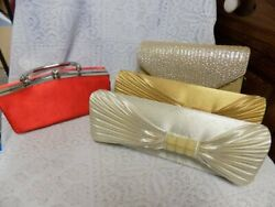 LOT OF 4 NWT EVENING CLUTCH BAGS SHOULDER CHAINS NEVER USED $20.00