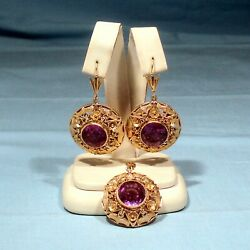 Solid 18k Yellow Gold Synthetic Alexandrite Pendant And Earrings Demi Parure