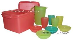 Tupperware Toys Childrenand039s Mini Party Pitcher Tumblers Bowls Set W/ Storage Case