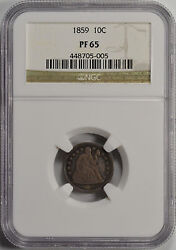 1859 10c Seated Liberty Proof Dime Ngc Pf65