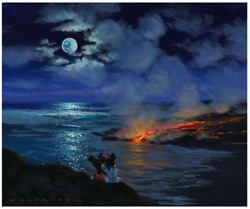 Disney Fine Art Limited Edition Canvas Watching Nature's Creation-mickey+minnie