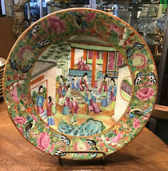 Antique Canton 'famille Rose' Porcelain Wall Plate Unsigned China 19th Century