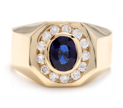 Heavy 2.30ct Natural Diamond And Sapphire 14k Solid Yellow Gold Men's Ring
