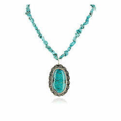 1270tag Silver Certified Navajo Natural Turquoise Native Necklace 15055-15409