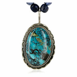 1560tag Certified Navajo 12ktgf Silver Lapis Turquoise Native Necklace 14980