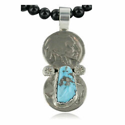 480tag Vintage Style Old Buffalo Coin Certified Silver Navajo Turquoise Neckla