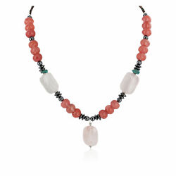 290tag Certified Silver Navajo Turquoise Pink Quartz Native Necklace 750199-3