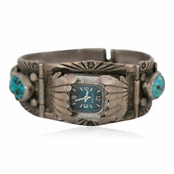 1380tag Silver Certified Signed Navajo Turquoise Coral Native Watchband 1132
