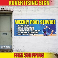 Pool Service Banner Advertising Vinyl Sign Flag Washing Draining Cleaning Weekly