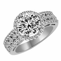 14k White Gold Round Cz Engagement Solitaire Ring