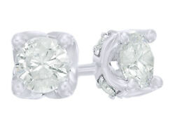 0.75 Ct Round White Natural Diamond Stud Earrings In 10k White Gold