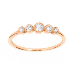 1/5 Ct Round Cut D/vvs1 Solid 14k Rose Gold Five Stone Engagement Ring