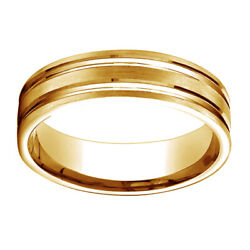 14k Yellow Gold 6mm Comfort Fit Satin Finish Grooves Carved Band Ring Sz 12