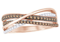 1/2 Ct Champagne And White Natural Diamond Double Row Overlay Ring 10k Rose Gold