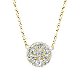 1/2 Ct Round Cut Simulated Diamond Solid 14k Yellow Gold Disc Pendant Necklace