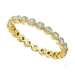 2/7 Ct Round Cut Simulated Diamond Solid 14k Yellow Gold Eternity Band Ring
