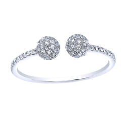 1/3 Ct Round Cut Simulated Diamond Solid 14k White Gold Adjustable Cluster Ring