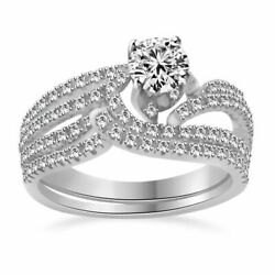 1.50 Ct Round Cut 10k Solid White Gold Simulated Swirl Bridal Engagement Rings
