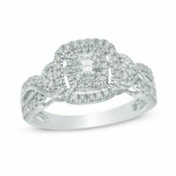 1/2 Ct Natural Diamond Frame Vintage Style Engagement Ring In White 10k Gold