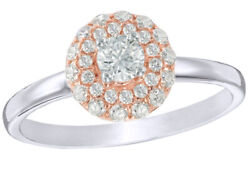 1/2ct White Natural Diamond Double Frame Engagement Ring 10k Two-tone White Gold