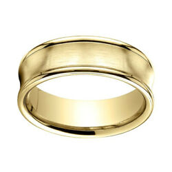 14k Yellow Gold 7.5mm Comfort Fit Satin Finish Concave Round Edge Band Ring Sz 7
