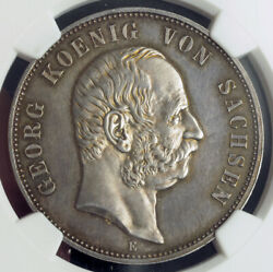 1903 Saxony George I.andnbspproof Silver 5 Mark Coin. Only 50 Pcs. Struck Ngc Pf62