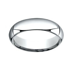 14k White Gold 6mm High Dome Heavy Comfort-fit Wedding Band Ring Size 11