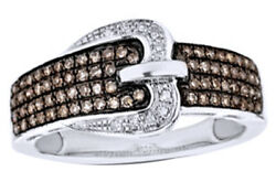 3/8 Ct Champagne And White Natural Diamond Buckle Ring 10k White Gold