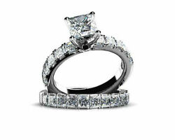 1.21 Ct Princess Cut Simulated Diamond 14k White Gold Engagement And Wedding Rings