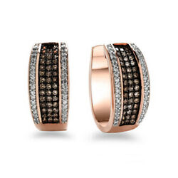 1/2 Ct Champagne And White Diamond Stripe Hoop Earrings In 10k Rose Gold