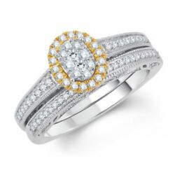 1/2ct Composite Diamond Oval Frame Vintage-style Bridal Set In 10k Two-tone Gold