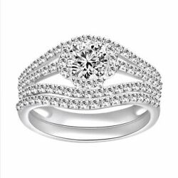 2.00ct Round Cut Simulated 10k White Gold Halo Wedding And Engagement Rings