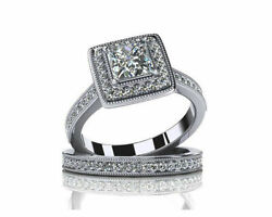 1.68ct Princess Cut Simulated Diamond 14k White Gold Engagement And Wedding Rings