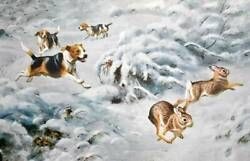 Beagle Hounds Chasing Rabbits by Walter Weber